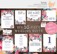 Gorgeous Watercolor Wedding Invitations // DIY Printable Wedding Invitation Set. While not technically watercolor, this cute and cheerful ten piece hand-painted wedding invitation set with darling floral detail is available for download as a DIY printable suite from France Illustration
