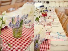 Gingham table runner.  Wedding of Rebecca and Andrew by Marianne Taylor Photography
