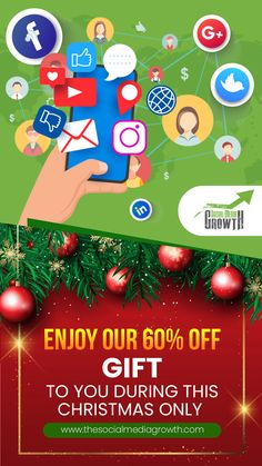 This Christmas season is a special time of joy, life, and giving. ❄️ Therefore, this Christmas, we want to give you the gift 🎁 of growing your social media accounts at 60% off. This is an opportunity you don't want to miss to boost your growth across all social media platforms and start the new year with a supersonic blast. So hurry now 🏃♂️ 🏃♀️ and Place an Order to enjoy our special Christmas offer at TSMG! Place an Order while the deal is ON!👇 Platforms, Social Media Marketing, Opportunity, Christmas Bulbs, Joy, Website, Holiday Decor, Gifts, Presents