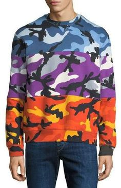 Valentino Men s Multicolor Pieced Camouflage Sweatshirt Camouflage  Sweatshirt b45d67d138