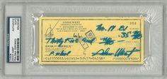 Adam West Signed Authentic Autographed Check Slabbed (PSA/DNA) #83436385