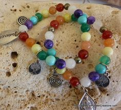 Chakra Balance Bracelet - Inspirational handmade gemstone jewellery Earth Jewel Creations Australia