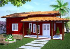 Casas Pequenas e Simples: 60 Modelos de Plantas e Projetos Family House Plans, Small House Plans, Bungalow House Plans, House Floor Plans, Backyard Fireplace, Mexico House, Patio Roof, House In The Woods, Simple House