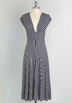 Sun-soaked Afternoon Dress - Blue, White, Stripes, Print, Casual, Nautical, A-line, Cap Sleeves, Spring, Knit, V Neck, Long