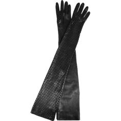 Versace Long perforated leather gloves ❤ liked on Polyvore featuring accessories, gloves, versace, leather gloves, long gloves, real leather gloves and versace gloves
