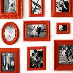 spray paint picture frames for a photo wall