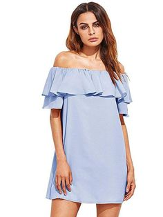 FASHION TRENDS 2020 - CHAMBRAY DRESS. RESORT FASHION. VACATION. SUMMER. SPRING Milumia Girls's Off Shoulder Ruffles Shift Free Mini Get dressed