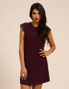 17fe0ff9e15 Little Mistress Plum   Black Cutout Sleeve Embellished Shift Dress