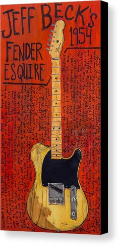 Jeff Beck Canvas Print featuring the painting Jeff Beck Fender Esquire by Karl Haglund