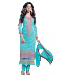 Light Blue Georgette Suit With Zari And Resham Embroidery Work (With Santone Inner) www.saree.com