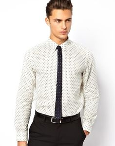 b5851645 ASOS - White Smart Chambray Shirt in Long Sleeve with Polka Dots for Men -  Lyst