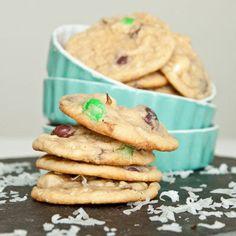 Coconut Cream Pudding Cookies (with Coconut M&M's)