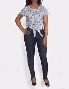 Grey Floral Print Tie Front Slouch Summer Crop by BrookandEnvy