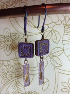 Czech glass and brass charm earrings by GingerandNoise on Etsy, $12.00
