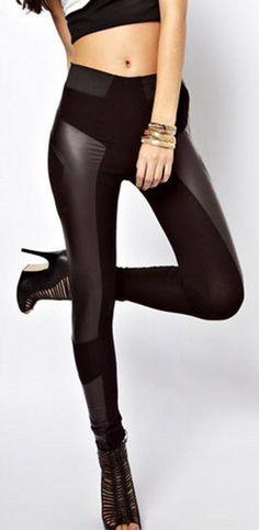 27d595b8344 High Waist Leather Look Leggings