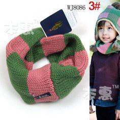 retail new Classic children's cotton scarf kids boy girl Ring Scarf Shawl Unisex Winter knit stripe jacquard Collar Neck Warmer