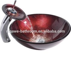 Xinda Bathroom Cabinet Co.,LTD provide the reliable quality glass vessel sinks and vanity sink and sink with tap with CE,SASO,Cupc approved. Glass Bathroom Sink, Glass Vessel Sinks, Waterfall Faucet, Contemporary Wall Mirrors, Vanity Sink, Creative Decor, Decorative Bowls, Red Color, Cabinet