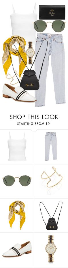 """Untitled #21512"" by florencia95 ❤ liked on Polyvore featuring RE/DONE, Ray-Ban, TomTom, Loro Piana, Gucci, rag & bone and FOSSIL"