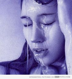 Ballpoint pen drawing of a girl with water pouring down her face #pens #pen #art #ballpointpen #penart #drawing #sketch #girl #water Amazing Drawings, Realistic Drawings, Amazing Art, Pen Drawings, Charcoal Drawings, Ballpen Drawing, Stylo Art, Ballpoint Pen Drawing, Biro