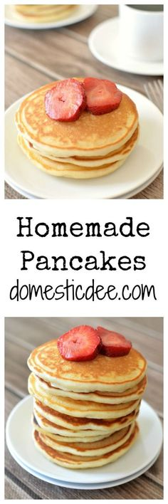 Pancakes Homemade Pancakes-These homemade pancakes are quick, easy and delicious.Homemade Pancakes-These homemade pancakes are quick, easy and delicious. Breakfast Waffles, Pancakes Easy, Easy Homemade Pancakes, Homemade Food, Brunch Recipes, Breakfast Recipes, Dessert Recipes, Pancake Recipes, Waffles