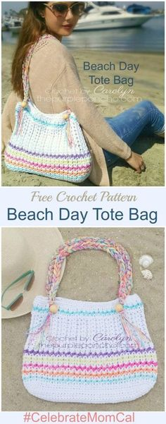 Beach Day Tote Bag – Free Crochet Pattern by The Purple Poncho #CelebrateMomCal #BeachDayCrochet