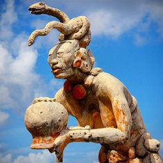 """Ixchel the Mayan goddess of the moon and fertility seen with her sacred """"womb jar"""" turned upside down so the waters would flow and nourish the crops."""