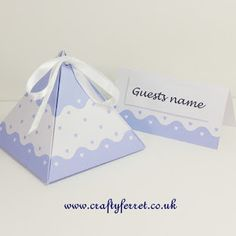 FREE wedding blue scallop & hearts pyramid favour box & place name cards Wedding Favor Boxes, Wedding Gifts, Favour Boxes, Free Wedding, Wedding Blue, Wedding Ideas, Pretty Box, Place Names, Heart Patterns
