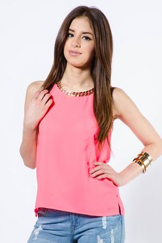 GOLD CHAIN NECK TANK TOP $12.99