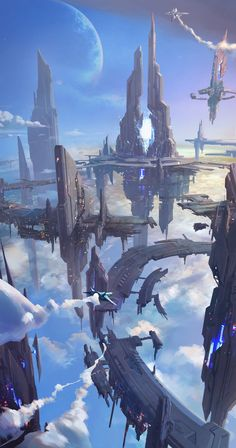 For fantasy and sci-fi art featuring heavenly cities and islands that float among the clouds, the sky-faring vessels used to travel between them,. Cyberpunk City, Cyberpunk Kunst, Futuristic City, Futuristic Architecture, Fantasy City, Fantasy Places, Fantasy World, Dark Fantasy, Sci Fi Fantasy