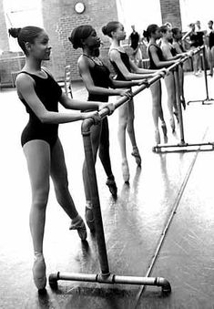 Girls at the barre. (Dance Theater of Harlem?)