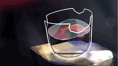 Fish in a broken glass Animation Reference, Art Reference, Pretty Art, Cute Art, Aesthetic Art, Aesthetic Anime, Cute Gifs, Animated Gifs, Cool Animations