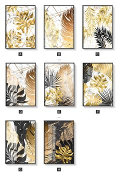 Nordic Tropical Gold Leaves Abstract Wall Art Posters Fine Art Canvas Prints For Modern Office Or Apartment Pictures For Living Room Decor - Painting Subjects Canvas Art Prints, Canvas Wall Art, Wall Art Prints, Canvas Paintings, Gold Wall Art, Framed Canvas, Contemporary Abstract Art, Abstract Wall Art, Abstract Posters