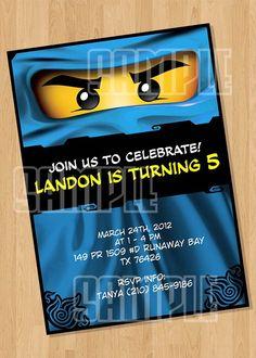 Lego Ninjago Invitation Blue Ninja