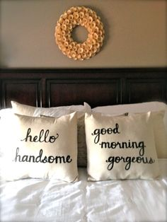 "Cute pair of ""Hello Handsome"" and ""Good Morning Gorgeous"" pillows for a bridal shower or wedding #gift"