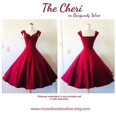 1950s Style Pin Up party dress in a beautiful Burgundy Wine stretch knit! The CHERI Swing Dress handmade by HARDLEY DANGEROUS COUTURE! Misses Sizes XXS-5XL avaialble! ** Petticoat is not included in price of dress, each sold separately. Black Belt is shown for style inspiration only and is not included with dress. **   Ready to Ship in 6-8 weeks from date of purchase.  🌺🌸🌺 Vacation Alert! HARDLEY DANGEROUS COUTURE will be away on a long overdue and much needed vacation from March…
