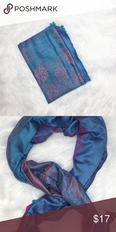 Hypnotized Scarf 100% Pashmina Scarf. Blue & Pink. Great to wear around your neck or as a head wrap. Accessories Scarves & Wraps