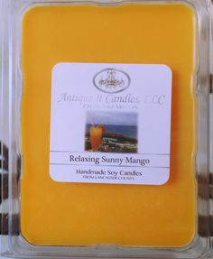 Relaxing Sunny Mango scented soy tart. An incredible blend of  tropical fruits that will take you away on vacation.