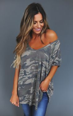 Dark Camo Exposed Stitch Top - Dottie Couture Boutique