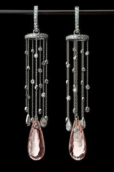 Morganite chandeliers.  Designed by Judy Evans for Richard Krementz.  Won a spectrum award..