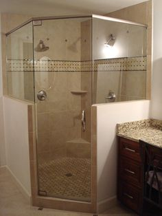 Master Bathroom Knee Wall corner-frameless-shower-return-panel-on-knee-wall | for the home