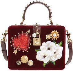 Dolce   Gabbana Heart Floral Embellished Velvet Box Bag Red Tote Bag 811b071440f81