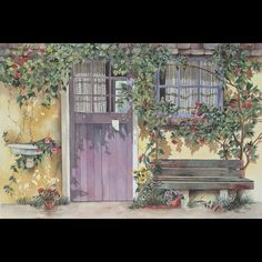 """""""Lavender Cottage"""", watercolor on paper by Pomm. The note on the door is personalized just for you!"""