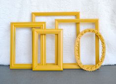 Marigold Yellow Painted Frames Set of 5 - Upcycled frames.. great for Gallery Wall or Bedroom Mustard Yellow Grey Gray decor. $40.00, via Etsy.