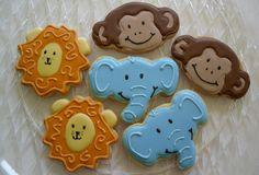 Jungle Cookies Lion Monkey Elephant  Baby Shower  1st Birthday. $36.00, via Etsy.