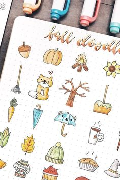 Fall Bullet Journal Doodles - - Starting your fall theme and need some deocration ideas? Check out these Fall and Halloween step by step bullet journal doodle tutorials for inspiration! Autumn Bullet Journal, Bullet Journal Writing, Bullet Journal Ideas Pages, Bullet Journal Spread, Bullet Journal Inspo, Bullet Journal Layout, Halloween Doodle, Fall Halloween, Halloween Ideas