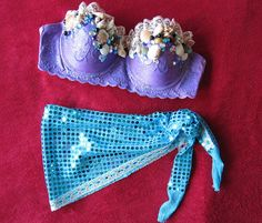 Custom Order for Sharon Ariel Outfit for EDC by lilkittyko Festival Gear, Rave Festival, Rave Outfits, Beach Outfits, Bedazzled Bra, Ariel Costumes, Concert Wear, Diy Bra, Mermaid Outfit