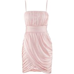 H&M Dress (£30) ❤ liked on Polyvore featuring dresses, vestidos, h&m, robes, lining dress, panel dress, pink dress, short draped dress and drapey dress