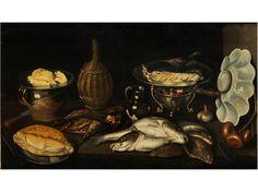 STILLLEBEN MIT FISCHEN, BROT, ZWIEBELN, EINER WEINFLASCHE UND GESCHIRR Öl auf Leinwand. 60 x 105 cm. Paolo Antonio Barbieri, der Bruder von Guercino, verdankt...
