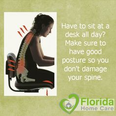 Sitting can be damaging to your back and neck, especially if you have poor posture. Make sure to sit with your feet flat on the ground. Have your computer screen and keyboard at the proper heights so you don't slouch or over extend. And remember to stretch every now and then! #FloridaHomeCare #SitRight #AbuDhabiPhysicalTherapy #AbuDhabiDoctor #BetterPostureBetterLife