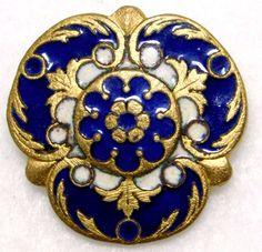 ANTIQUE French ENAMEL Button ROYAL Cobalt Blue PARIS Back PERFECT! #78